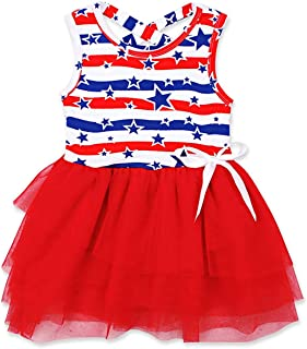 Ritatte Toddler Baby Girls Summer Outfit Stars and Stripes Bow-Knot Dress Independent's Day Suit