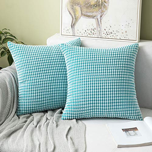 MIULEE Set of 2 Corduroy Soft Big Corn Solid Decorative Square Throw Pillow Covers Cushion Case For Sofa Bedroom 40 x 40 cm 16 x 16 Inch Granule Light Blue