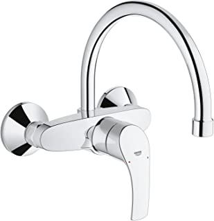 Grohe 32482002 Eurosmart Single-Knob Mixer Tap High Spout Sink, In-Wall Installation, Chrome