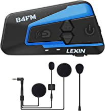 LEXIN LX-B4FM Motorcycle Intercom, Universal Helmet Communication System up to 4 Riders, Waterproof Motorcycle Bluetooth Headset with 1600m Range