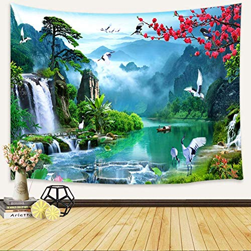 JAWO Japanese Tapestry Wall Hanging, Asian Anime Mount Forest Tapestry Fantasy Fairy Tale World Waterfall Cherry Blossom Nature Scenery Tapestry, Peaceful Aesthetic Tapestry 60X40 Inches