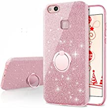 Huawei P10 Lite Case, Silverback Girls Bling Glitter Sparkle Cute Phone Case with 360 Rotating Ring Stand, Soft TPU Outer Cover + Hard PC Inner Shell Skin for Huawei P10 Lite -Rose Gold
