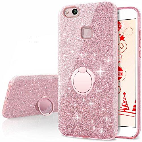 Miss Arts Cover Huawei P10 Lite, Custodia Glitter di in Morbido TPU con Interno in Policarbonato Ultra Resistente, Supporto Rotazione a 360 Gradi per Huawei P10 Lite -Oro Rosa