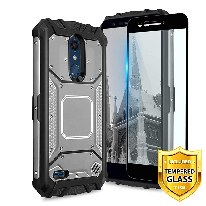 TJS LG K10 2018/K30/Premier Pro LTE/Harmony 2/Phoenix Plus Case, with [Tempered Glass Screen Protector] Aluminum Metal Premium Shockproof Military Case Built-in Metal Plate Back (Grey)