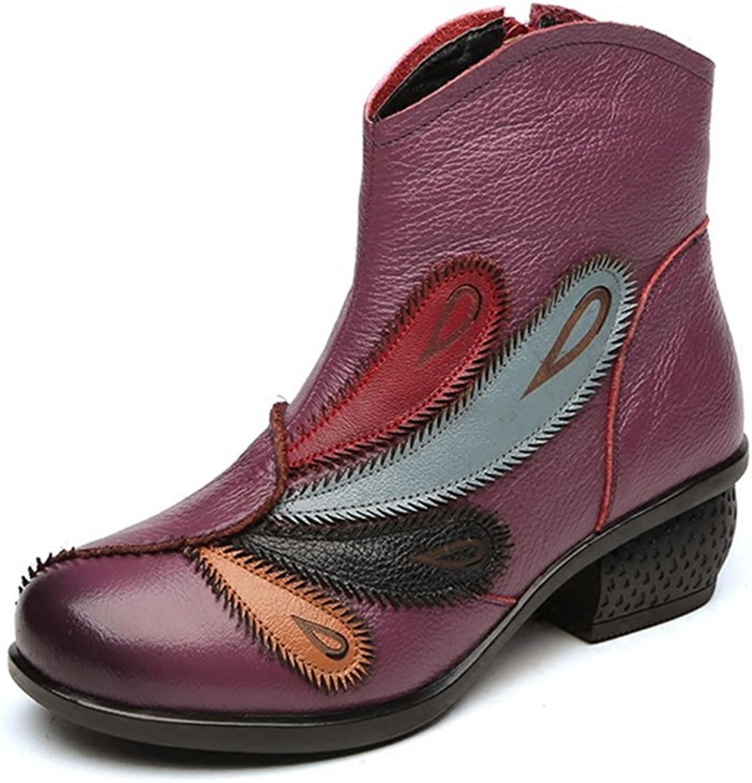 Btrada Womens Winter Velvet Lined Round Toe Flower Martin Ankle Boots Mid Heel Comfortable Bootie