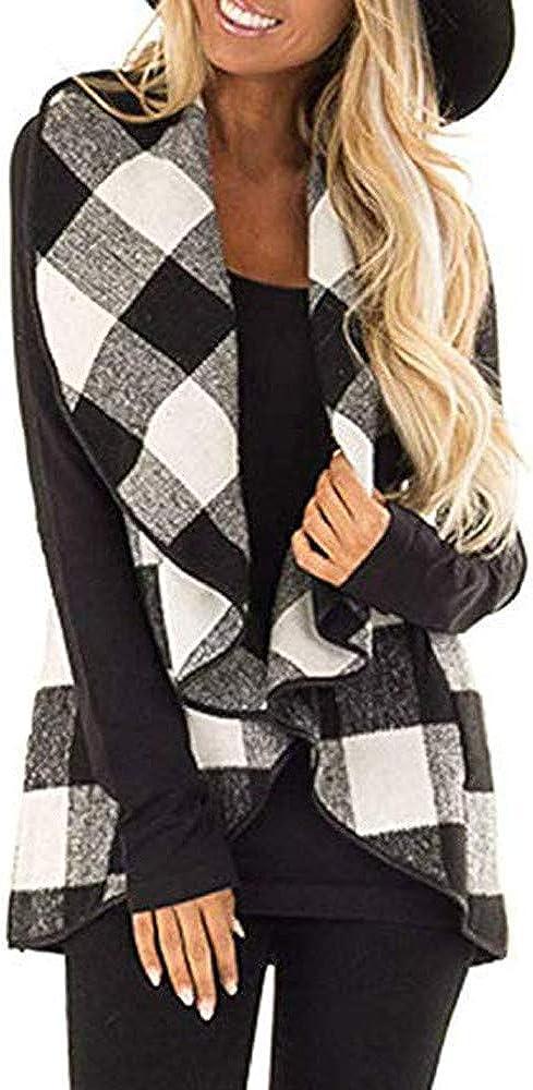 ZANFUN Womens Vest Big Plaid Print Sleeveless Lapel Fashion Cardigan Sherpa Jacket Slim Fit Sexy Coat with Pocket S-2XL