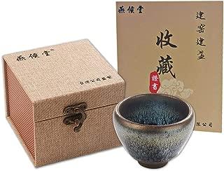 Yan Hou Tang JianZhan Tenmoku Tea Coffee Expresso Cappuccino Asian Cup Matcha Mug Bowl - 85ml 3oz Ping Partridge Spot Chinese EGG Style Metal Class Ceramic Crafts Designer Collection Ceremony Handmade