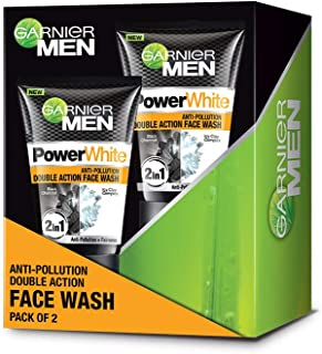 Garnier Men Power white Anti-Pollution Double Action Facewash, Pack of 2, 200g