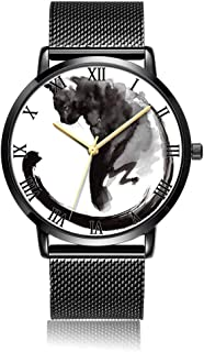 Customized Drake Wrist Watch, Black Steel Watch Band Black Dial Plate Fashionable Wrist Watch for Women or Men