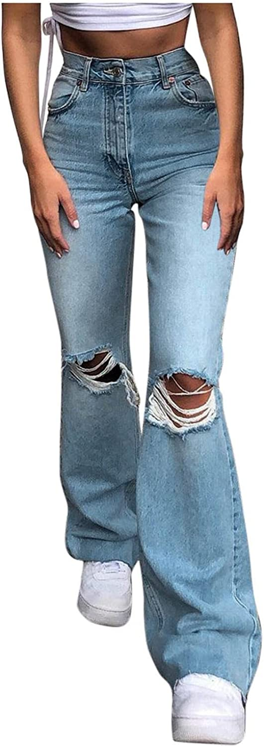 UQGHQO High Waisted Jeans for Women, Women's Skinny Ripped Bell Bottom Jeans Y2K Straight Leg Baggy Trousers Streetwear