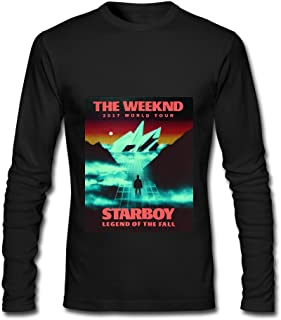 JKDRTW The Weeknd World Tour 2017 Starboy Legend of The Fall Long Sleeve T-Shirts for Men Black