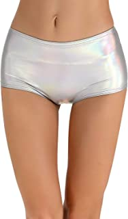 Women's High Waisted Leather Metallic Shiny Shorts
