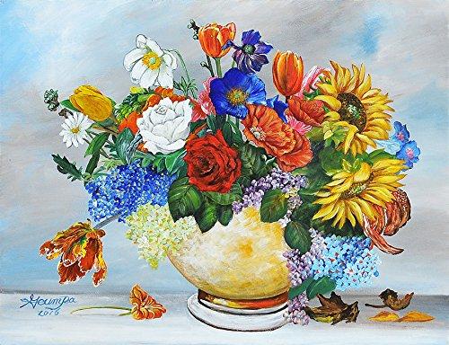 Lege DIY schilderen op cijfers voor volwassenen, kleurrijke bloemen, schilderset, voor beginners, nieuw schilderwerk, 40 x 50 cm, zonder lijst