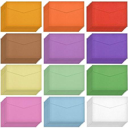 FYSL 60 Pièces Mini Enveloppes Petite Enveloppe Couleur Multi Couleur Mignon Enveloppe pour Mariage de Cartes, Fournitures de Fête d'Anniversaire, 10 Couleurs, 11,5 x 8,2 cm