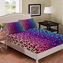 Homewish Juego de ropa de cama de leopardo de acuarela tamaño King, diseño abstracto de leopardo moderno de moda de decoración de ropa de cama para niñas, conjunto de sábanas de colores para mujer