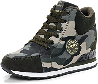 Women's Camouflage High-Heel Sneakers Inner Heightening Leisure Running Shoes US 4.5-10