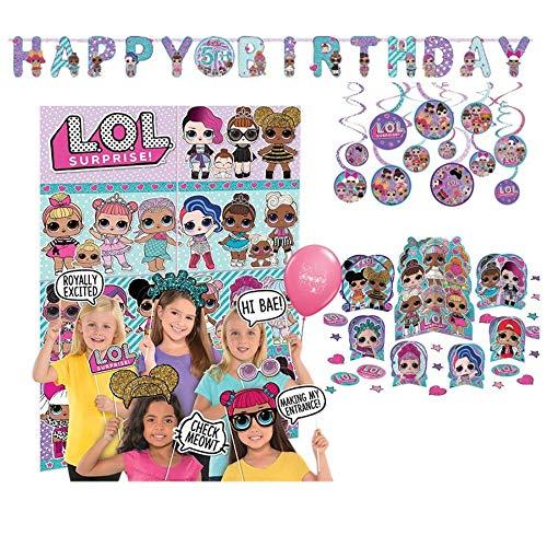 Party Decoration Supply Pack for LOL Surprise Themed Party with Photo Scene Setter, Jumbo Add-an-Age Banner, Table Centerpiece Kit and Value Pack Hanging Swirls by Amscan