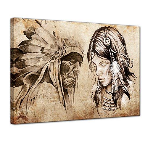 Bilderdepot24 Bild auf Leinwand | Indianer VIII, Tattoo Art I in 60x50 cm als Wandbild | Wand-deko Dekoration Wohnung modern Bilder | 210529