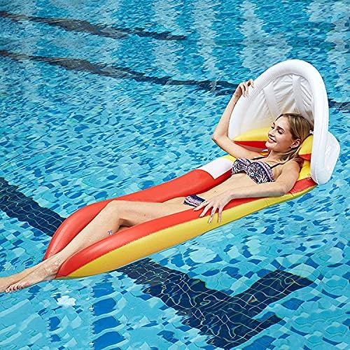 wsbdking Hamaca Flotante Inflable, tumbonas cómodas de la Piscina con toldo, Piscina Inflable Flotante Cama sofá Cama al Aire Libre Playa de la Playa para niños Adultos Verano (Color : Red)