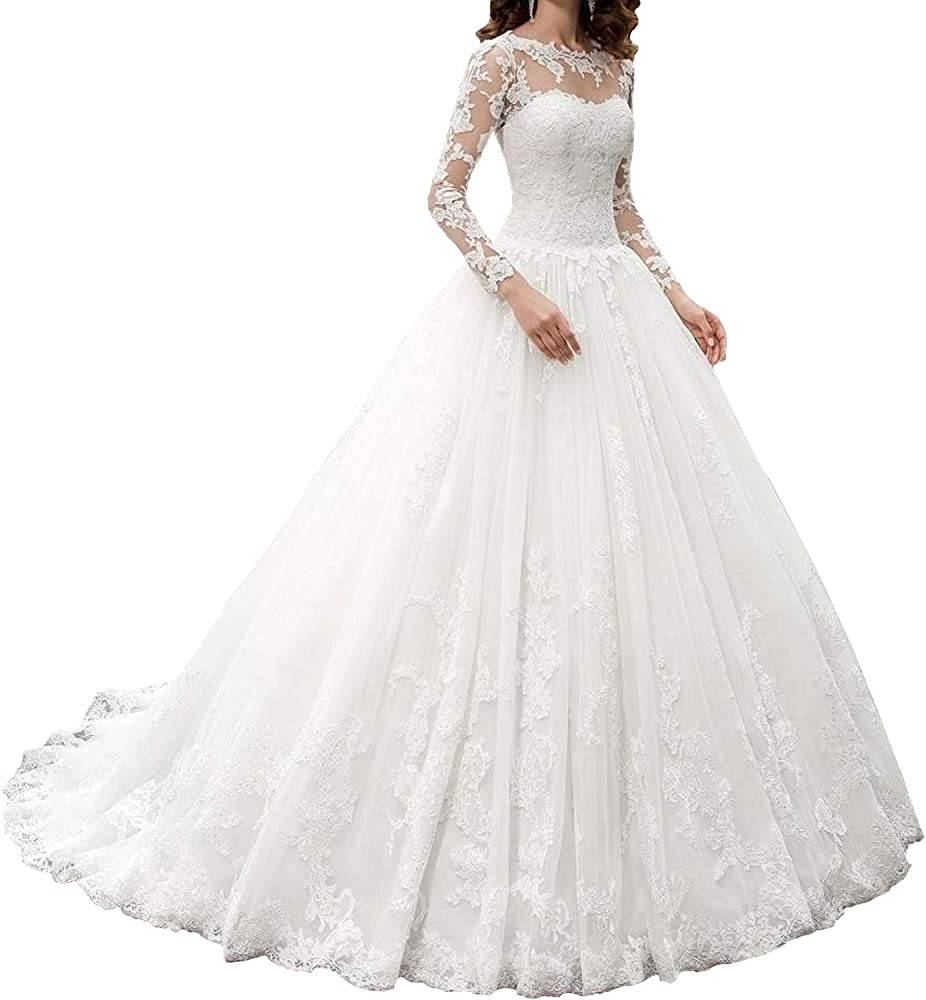 Women's A line Appliques Wedding Dress with Long Sleeves Sweetheart Wedding  Gowns Bride Dress
