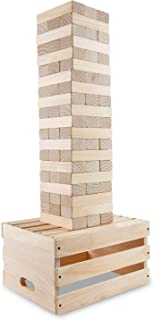 Sunny & Fun Giant Toppling Tower - 60 Jumbo Wooden Blocks Stacks to 5+ Feet – Oversized Indoor & Outdoor Stacking Game for Adults & Kids w/ 2-in-1 Storage & Table Crate – for Party Yard Lawn Backyard