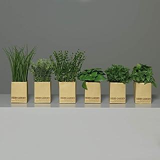 Kunstkräuter im Glas Grüne Küchendekoration Deko Küchenkräuter 4er Set