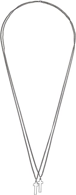 Twin Profiled Crosses Necklace