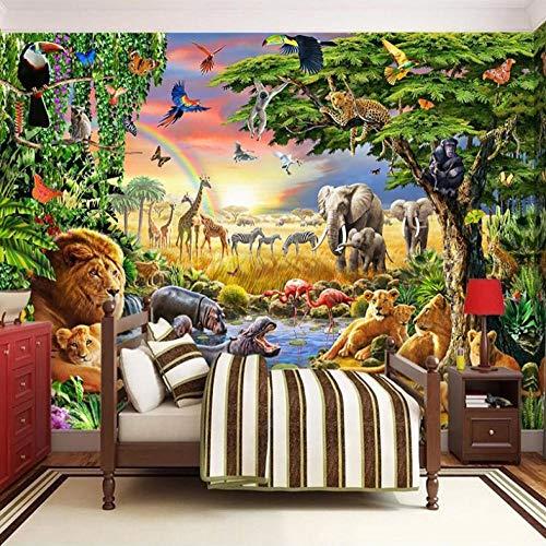 3D fotobehang wandschilderij wandschilderijen regenboog, dierbos woonkamer TV sofa achtergrond behang moderne wooncultuur 400x280cm