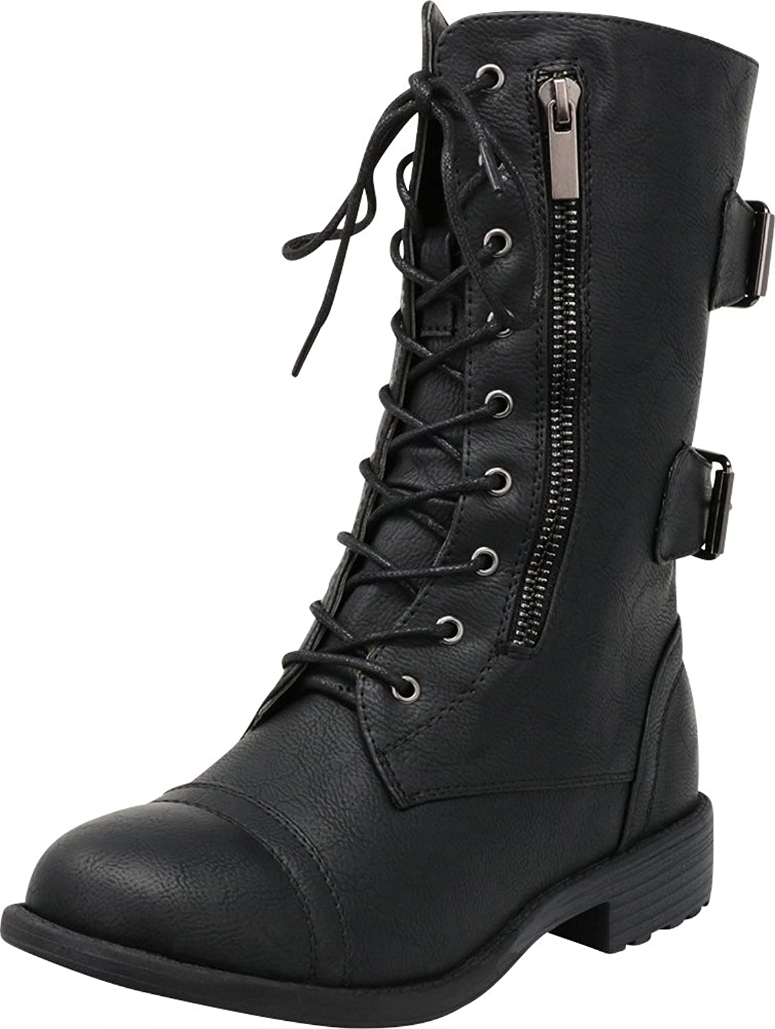 Cambridge Select Women's Closed Round Toe Lace-up Chunky Low Heel Moto Combat Boot