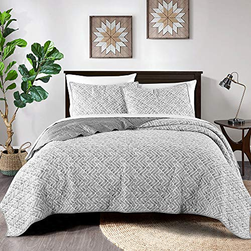 Wellbeing Quilt Set, Garment Washed Ultra Soft Cotton, Lightweight Bedding Quilt Bedspread Set - Watercolor Geometric, Grey, King Size, 3 Pieces