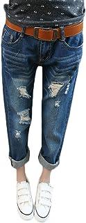QitunC Women's Stylish Boyfriend Cropped Trousers Low Waist Wide Leg Harem Trousers Hole Jeans