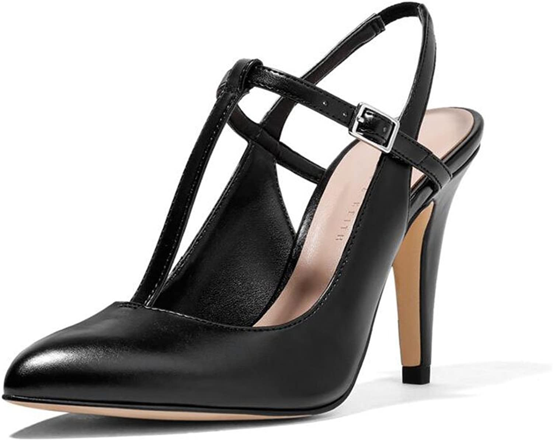XUERUI Ms High Heels Stilettos Sandals Pointed Single shoes Suede Wedding Graduation Fashion Sexy 9cm Heel (color   Black, Size   EU36 UK3.5 CN35)