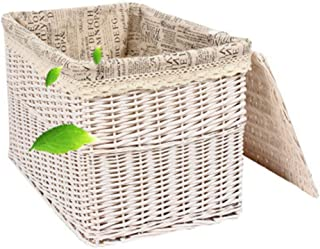 QINSHAN Stockage Panier de Rangement en Osier Boîte de Rangement en Osier avec Couvercle Sales Panier/Hamper Vêtements de ...