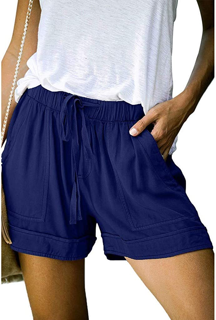 Hessimy Womens Summer Shorts with Pockets,Women's Summer Beach Shorts Casual Comfy Pajama Shorts with Drawstring