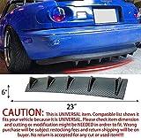 S SIZVER 1 x Carbon Style Rear Lower Bumper Diffuser Fin Spoiler Lip Wing Splitter 23'x6'
