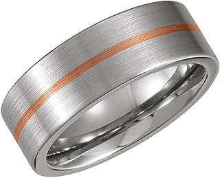 خاتم رجالي من الذهب الوردي عيار 14 قيراط 8 مم من اف بي جويلز كوبالت خاتم زفاف مسطح الحجم 10