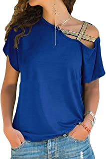 CRYYU Women Strappy Casual Cold Shoulder Short Sleeve T-Shirts Top Blouse