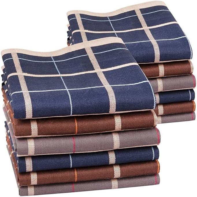 GYZCZX 12PCs Men's Handkerchief Cotton Square Woven Mixed Tri-Color Classic Vintage Business Checked Dark Multicolor Gentleman Pocket (Color : B)