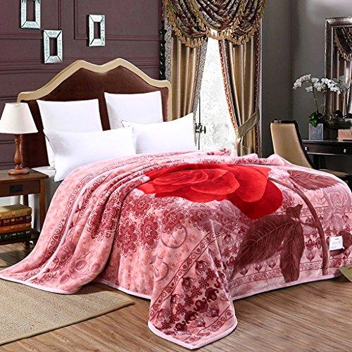 Couvertures Rose Polyester matériau Chambre lit Loisirs Motif Floral Doux et Confortable Taille: 200 * 230cm