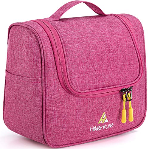 Cosmetic Travel Bag Hanging Toiletry Organizer - Women Bathroom Toiletries Makeup Bags - for Business Trip, Gym, Counter, Airplane, Camping (Rose)