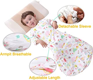Organic Toddler Wearable Blanket, Soft Cotton with Detachable Sleeve Floral Printed Kids Sleeping Sack for Toddler 6 month-4T 35-42 Months White BSB001-LForest style
