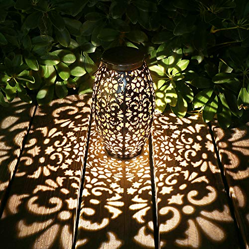 Kaixoxin Solar Lantern Lights for Hanging or Table Outdoor Solar Light for Patio Courtyard Garden (Silver)
