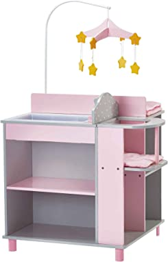 Olivia's Little World - Polka Dots Princess Baby Doll Changing Station, Baby Care Activity Center, Role Play Nursery Center w