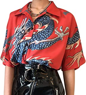 Dcola Camicia A Maniche Corte in Risvolto Primavera Ed Estate Nuova Camicia A Maniche Corte con Stampa Drago E Uomo E Donna con T-Shirt di Grandi Dimensioni.