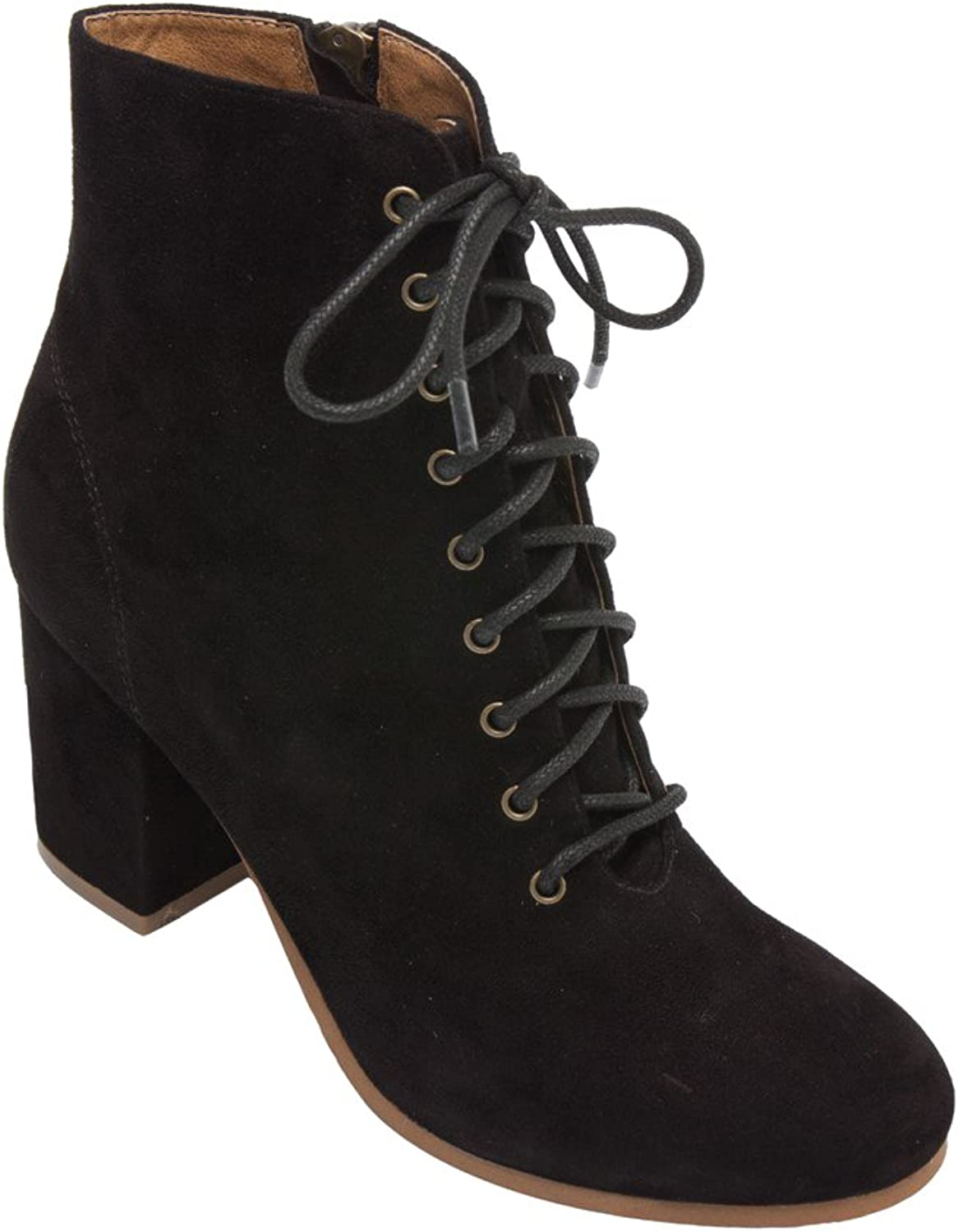 PIC PAY Benji - Women's Lace-Up Vintage Zipper Boot - Mid Height Wrapped Suede Leather Block Heel Ankle Bootie Black Suede 7.5M