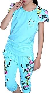 Freebily Conjuntos de Verano para Niñas Ropa Deportiva Estampado Floral Top Camiseta de Manga Corta y Pantalones Cortos Ch...