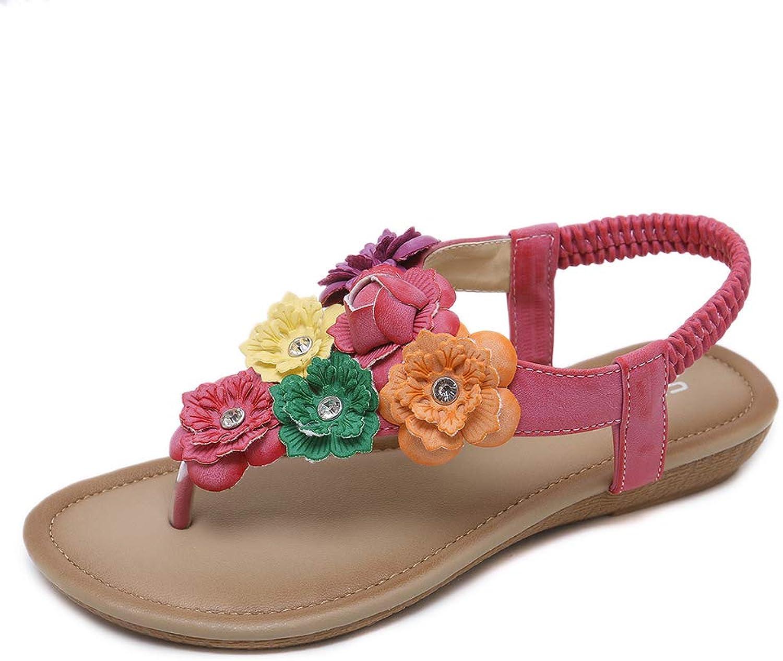 Mobnau Women's colorful Flowers Flat Summer Beach Thong Sandals