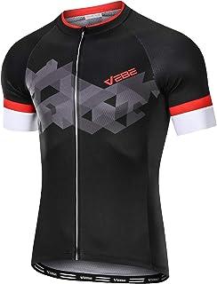 VEBE Men`s Lightweight Cycling Jersey Short Sleeve Bike Shirts Reflective Quick-Dry Biking Tops with Three Pockets …