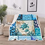 Sea Turtle Blanket Abstract Tortoise Blue Sea Animals Blanket Super Soft Sherpa Throw Blanket for Sofa, Sea Turtle Gifts for Tortoise Lovers (59X79IN)