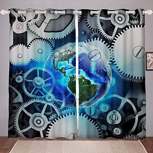 Azul Tierra Ventana Tratamientos Universo Planeta Impresión Ventana Paneles para Niños Mujeres Hombres Industrial Reloj Tema Engranajes Ventana Drapes Steampunk Estilo GearwheelOjal Top W46*L72